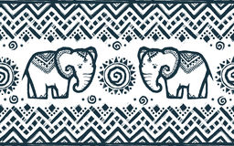 Vector tribal ornamental seamless pattern with hand drawn elephant Stock Photography