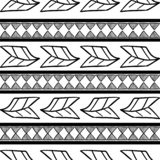 Vector tribal pattern with black and white drawing feather and abstract maya symbol stripes background. Good for your textile. Fashion wrapping and print stock illustration