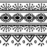 Vector tribal pattern with black and white hand drawn ornament. Good for your textile fashion wrapping and print. African ethnic line maya aztec texture royalty free illustration