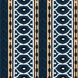 Vector tribal pattern with blue and yellow colors hand drawn stripes decoration. Good for your textile fashion wrapping and print. African ethnic line maya vector illustration