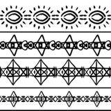 Vector tribal pattern with stripes symbol drawing in black and white. Good for your textile fashion wrapping and print. African ethnic line maya aztec texture vector illustration