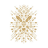 Vector tribal patterns. Aztec shapes with ethnic elements. Gold tribal design, flash tattoo  on white background Stock Photos