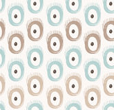 Vector tribal seamless pattern with abstract feathers and circles. Royalty Free Stock Photography