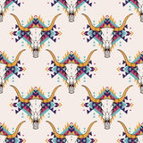 Vector tribal seamless pattern with bull skull and decorative ethnic ornament. Boho style. American indian motifs Royalty Free Stock Photography