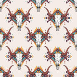 Vector tribal seamless pattern with bull skull and decorative ethnic ornament Stock Photography