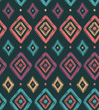 Vector tribal seamless pattern with rhombuses. Geometric background Royalty Free Stock Photos