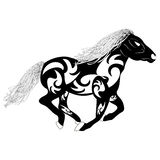 Vector tribal silhouette of a running horse Royalty Free Stock Photography
