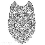 Vector tribal style wolf totem tattoo Royalty Free Stock Images