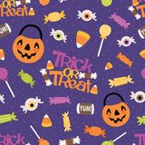 Vector Trick or Treat Candy Seamless Pattern Background stock illustration