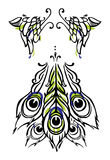 Tattoo or body-art style peacock wings and tail on white. Vector. Vector tricolor illustration of peacock wings and tail made in tattoo or body-art style on stock illustration