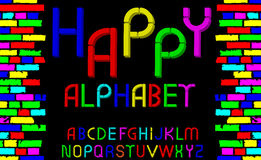 Vector tridimensional decorative font Happy alphabet. Vector illustration Stock Images