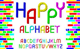 Vector tridimensional decorative multicolor font Happy alphabet. Vector illustration Royalty Free Stock Photo