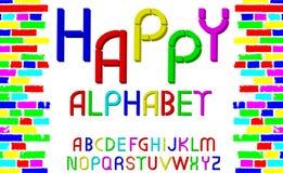 Vector tridimensional decorative multicolor font Happy alphabet. Vector illustration Royalty Free Stock Photo