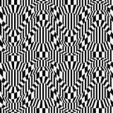 Vector trippy Muster der abstrakten Geometrie des Hippies mit 3d Illusion, nahtloser geometrischer Schwarzweiss-Hintergrund Stockfotos