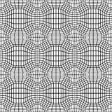 Vector trippy Muster der abstrakten Geometrie des Hippies mit 3d Illusion, nahtloser geometrischer Schwarzweiss-Hintergrund Lizenzfreies Stockfoto