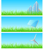 Vector triptych of objects on detailed grass Royalty Free Stock Images