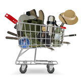 Vector Trolley with Fish-tackle Stock Photography