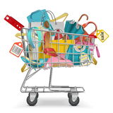 Vector Trolley with Purchase Royalty Free Stock Photos