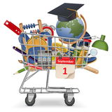 Vector Trolley with School Supplies Royalty Free Stock Photo