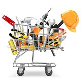 Vector Trolley with Tools. On white background Stock Photography
