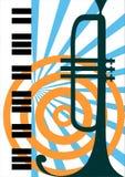 Vector trompet en pianoillustratie Stock Foto's