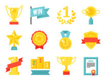 Vector trophy champion cup flat icon winner gold award prize sport success best win golden illustration. Vector trophy champion cup flat icon winner gold award royalty free illustration