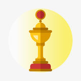 Vector trophy champion cup flat icon winner gold award and victory prize sport success best win golden leadership Royalty Free Stock Images
