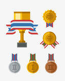 Vector trophy champion cup flat icon winner gold award and victory prize sport success best win golden leadership Royalty Free Stock Image