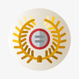 Vector trophy champion medal flat icon winner gold award and victory prize sport success best win golden leadership Royalty Free Stock Images