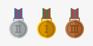 Vector trophy champion medal flat icon winner gold award and victory prize sport success best win golden leadership Royalty Free Stock Photos