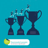 Vector trophy with women climbing Stock Photo