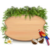 Vector Tropic Wooden Board Royalty Free Stock Image