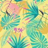 Vector tropica безшовного красивого художнического pastale лета яркое Стоковые Изображения RF