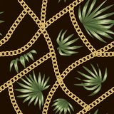 Vector tropical background with red hibiscus flowers and golden chain royalty free illustration