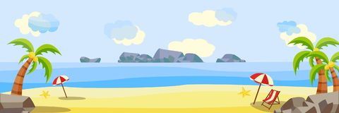 Vector tropical beach seaside party landscape. Vector flat seaside coastline natural landscape. Tropical beach party poster, banner background template stock illustration
