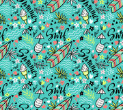 Vector tropical bright  seamless pattern with surfboard, cocktail, ice cream, floral elements. Vector tropical bright  seamless pattern with surfboard, cocktail Stock Photography