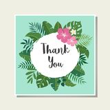 Vector tropical card. Cute cartoon cards with tropical leaves, flowers, bids Stock Images