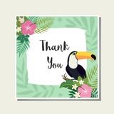 Vector tropical card. Cute cartoon cards with tropical leaves, flowers, bids Royalty Free Stock Photography