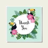 Vector tropical card. Cute cartoon cards with tropical leaves, flowers, bids Stock Photo