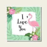 Vector tropical cards set. Cute cartoon cards with tropical leaves, flowers, bids Royalty Free Stock Photo