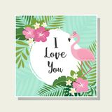 Vector tropical cards set. Cute cartoon cards with tropical leaves, flowers, bids Stock Image