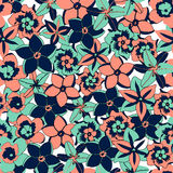 Vector tropical color flowers seamless background. Vector illustration tropical flowers seamless background pattern Stock Images