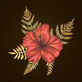 Vector tropical composition of hibiscus flowers with golden textured leaves on black background. Bright realistic watercolor style royalty free illustration