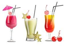 Vector tropical de la colección del sistema de los vidrios de la ensalada de fruta realista Bebidas frescas de la cereza, del car libre illustration