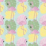 Vector tropical exotic seamless pattern with flamingo. Hand draw Royalty Free Stock Images