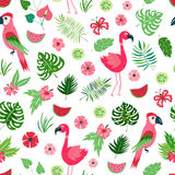 Vector tropical floral seamless pattern stock photo