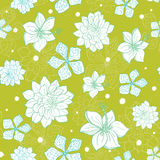 Vector tropical green blue flowers seamless repeat pattern background design. Great for summer party invitations, fabric Stock Photos