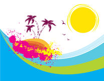 Vector tropical island Abstract grunge Stock Images