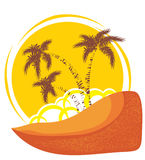 Vector tropical island background Royalty Free Stock Photo