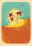 Vector tropical island on vintage old Stock Image